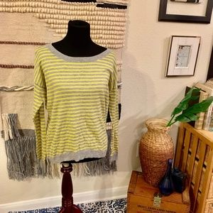 Neon Yellow & Gray Striped GAP Sweater